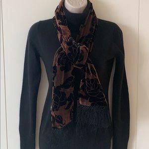 Velvet Scarf Brown Black Floral Velvet Blk Fringe
